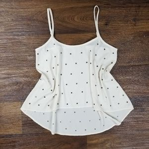 Tobi Polka Dot Studded High Low Tank Top Ivory